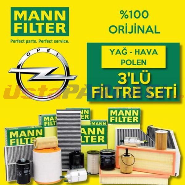 Opel Astra J 1.4 16V Turbo Mann-Filter Filtre Bakım Seti (2010-2015) UP483190 MANN