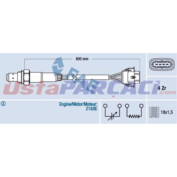 Oksıjen Sensoru Konum 1 - Astra H - Vectra C - Zafıra B - A16xer - Z18xe 021906265A 855356 FAE 77247 FAE