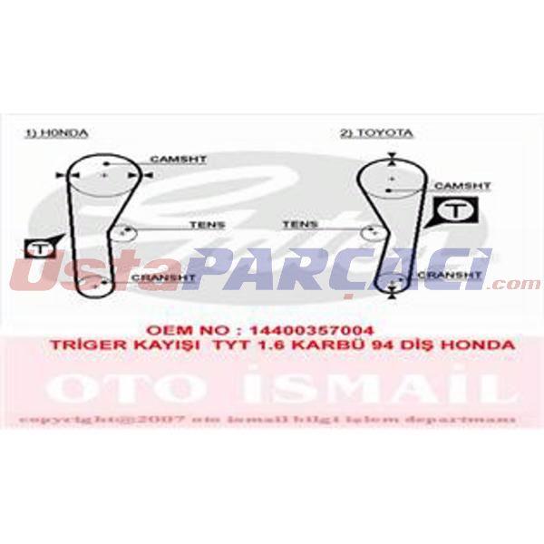 Triger Kayışı (094x190) Toyota Honda Corolla 1.6 16v (87-92) Civic 1.5 8v 74-78) Carina Ff 1.5 Ct536 GATES 5027 GATES