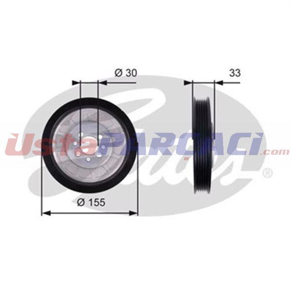 Krank Kasnagı Polo 1.7 Sdı-1.9sdı 08- Aku-aef-aey-agd-asx)-felıcıa 1.9d Aef 08- GATES TVD1088 GATES