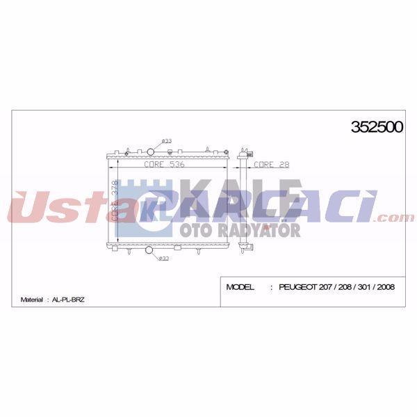 Motor Radyatoru Mekanık P301-p1007-p2008-p207 1,6hdı 06->  C2-c3 Iı-c Elysee 1,4 1,6 1,4hdı 03-> Ep: KALE 352500 KALE RADYATOR