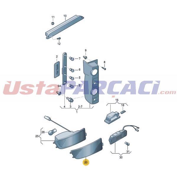 Arka Tampon Reflektoru Sag Crafter Sprınter 06>16 2E0945106 2E0945106 PLASTECH P12176 PLASTECH