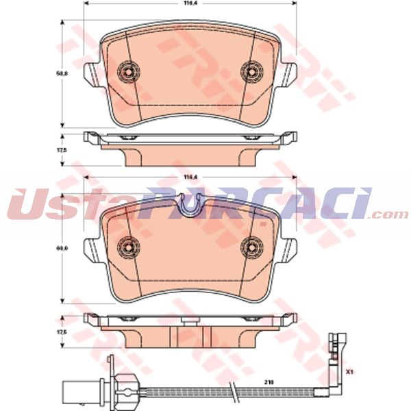 Arka Fren Balatası A6 4g2 A6 Avant 4g5 2,8 Fsı 2,8fsı Quattro 2,0tdı 3,0tdı 3,0tdı Quattro 11 10 TRW GDB1902 TRW