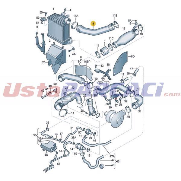 Turbo Hortumu A3/tt/leon I /toledo Iı/octavıa I/bora Golf Iv 1,8 UCPA 23H142578 UCPA