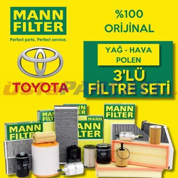 Toyota Auris 1.6 Mann-filter Filtre Bakım Seti (2010-2016) UP463804 MANN
