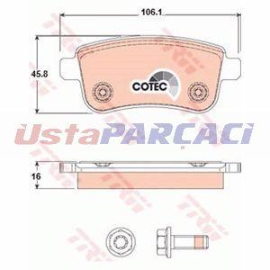 Renault Scenic Iii 1.6 Dci 2011-2019 Trw Arka Fren Balatası UP1170162 TRW