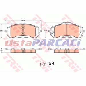 Peugeot 308 Sw 1.6 Thp 155 2014-2019 Trw Ön Fren Balatası UP1257050 TRW