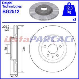 Fiat Doblo 1.4 2010-2019 Delphi Ön Fren Diski 2 Adet UP1224663 DELPHI