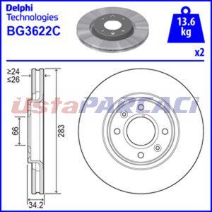 Peugeot 5008 1.6 16v 2009-2019 Delphi Ön Fren Diski 2 Adet UP1164426 DELPHI