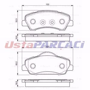 Citroen C-elysee 1.2 Vti 82 2014-2019 Bosch Ön Fren Balatası UP1177899 BOSCH