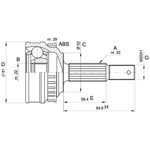 Aks Kafası Dış Vectra B 95-03)-corsa B 93-00)-astra F 91-98 1.6ı 16v 150118) CIFAM 606118 CIFAM