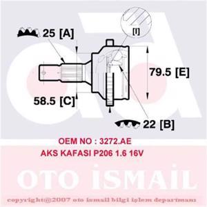 (x Aks Kafası Dış P206 1.6 16v 00> CIFAM 606572 CIFAM