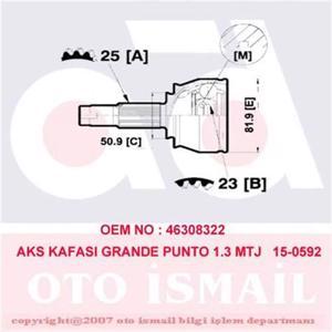 Aks Kafası Dış Grande Punto 1.3 Mtj 05> 15-0592) CIFAM 606592 CIFAM