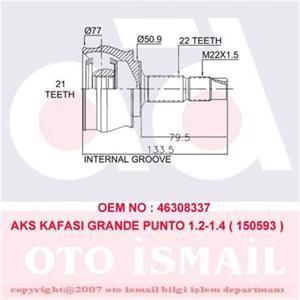 Aks Kafası Dış Grande Punto 1.2-1.4-1.4 16v 05> 15-0593) CIFAM 606593 CIFAM