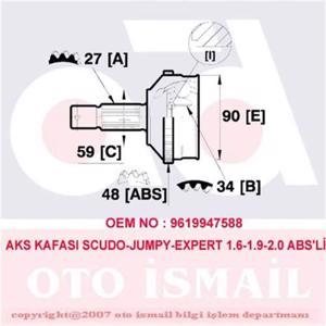 Aks Kafası Dış Scudo-jumpy-expert 1.6-1.9-2.0 95> Abs