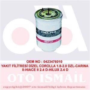 Mazot Filtresi Corolla 1,8-2,0 Dzl-carina Ii-hiace Ii 2,4 D-hilux 2,4 D DELPHI HDF521 DELPHI