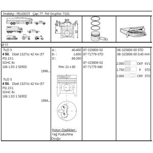 Motor Pıston+segmanı Saxo-xsara-zx-ax-p106 Tud5 1,5 Dızel 77,40mm 0,40 Farklı) GOETZE 8771779040000G GOETZE