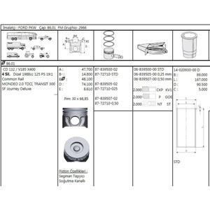 Motor PıstÖn Segman 86.00mm 0,50 Farklı Transit V185-mondeo 2,0tdcı 125ps Onden Ceker 04>06 GOETZE 8772710050000G GOETZE