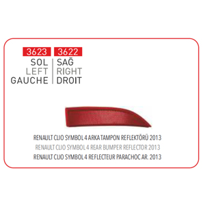 Arka TampÖn Reflektoru Sağ 2012-> Clio Symbol Iv PLEKSAN 3622 PLEKSAN
