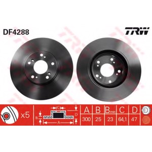 Ön Fren Aynası Havalı Civic Vi Hb 2,0 Type-r Abs Li 07/01--> TRW DF4288 TRW