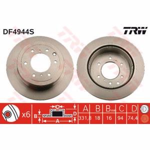 Arka Fren Aynası Havalı Pajero Iv (v80/ V90) 3,2 Di-d/3,8 V6 02/07-> TRW DF4944S TRW