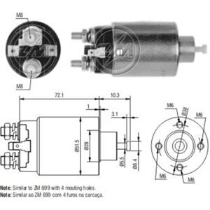 Marş Otomatiği 12v Hyundaı Accent - Elentra - Sonata / Mıtsubıshı Colt - L200 - L300 - Lancer - Paje ZM 4699