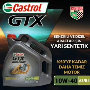 Castrol Gtx Ultraclean 10w40 A3/b4 Yarı Sentetik Motor Yağı 4 Litre Ü.t.03/2020 UP1534778 CASTROL