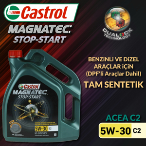 Castrol Magnatec Stop-start 5w30 C2 Tam Sentetik Motor Yağı 4 Litre Ü.t.02/2020 UP1312779 CASTROL