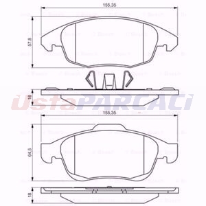 Citroen Berlingo 1.2 Puretech 110 2008-2014 Bosch Ön Fren Balatası UP1575475 BOSCH