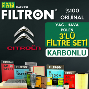 Citroen Berlingo 1.9 Dizel Filtron Filtre Bakım Seti 2002-2008 UP1539663 FILTRON