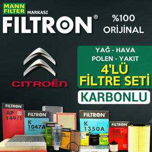 Citroen C3 1.6 Dizel Mann Filtron Filtre Bakım Seti 2016-sonrası UP1539670 FILTRON