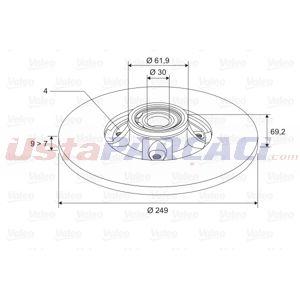 Citroen C3 Ii 1.6 Hdi 2009-2016 Valeo Arka Fren Diski UP1460175 VALEO