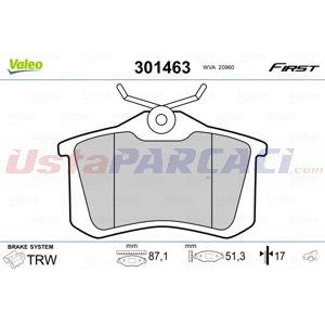 Citroen C3 Picasso 1.2 Thp 110 2009-2020 Valeo Arka Fren Balatası UP1501013 VALEO