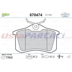 Citroen C3 Picasso 1.2 Thp 110 2009-2020 Valeo Arka Fren Balatası UP1418896 VALEO