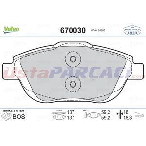 Citroen C3 Picasso 1.6 Hdi 110 2009-2020 Valeo Ön Fren Balatası UP1460193 VALEO