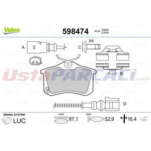 Citroen C3 Picasso 1.6 Vti 120 2009-2020 Valeo Arka Fren Balatası UP1529433 VALEO