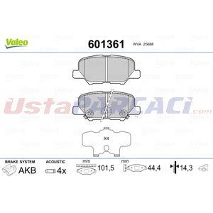 Citroen C4 Aircross 1.6 Hdi 115 Awc 2012-2020 Valeo Arka Fren Balatası UP1510218 VALEO
