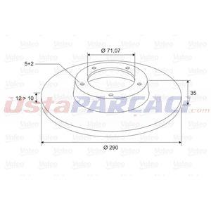 Citroen C5 Iii 2.0 16v 2008-2020 Valeo Arka Fren Diski UP1461026 VALEO