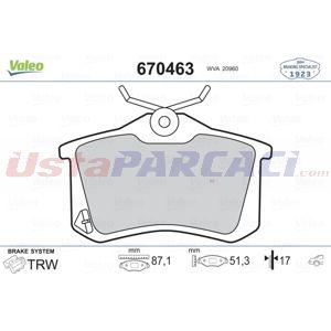 Citroen Ds3 Cabrio 1.6 Hdi 90 2013-2015 Valeo Arka Fren Balatası UP1499709 VALEO
