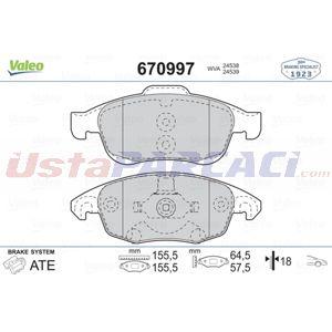 Citroen Ds4 1.6 Bluehdi 120 2011-2015 Valeo Ön Fren Balatası UP1484942 VALEO