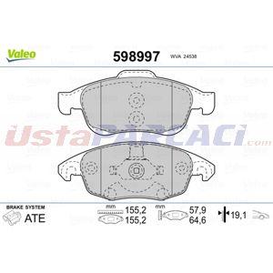 Citroen Ds4 1.6 Bluehdi 120 2011-2015 Valeo Ön Fren Balatası UP1462194 VALEO