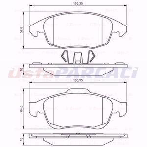 Citroen Ds4 1.6 Hdi 110 2011-2015 Bosch Ön Fren Balatası UP1570706 BOSCH