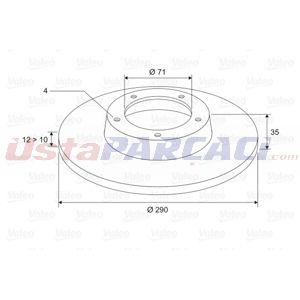 Citroen Ds4 1.6 Thp 200 2011-2015 Valeo Arka Fren Diski UP1481678 VALEO