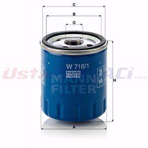 Citroen Ds4 2.0 Bluehdi 180 2011-2015 Mann Yağ Filtresi UP1387168 MANN