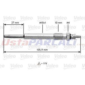 Citroen Xsara Break 2.0 Hdi 90 1997-2005 Valeo Kızdırma Bujisi 4 Adet UP1507108 VALEO