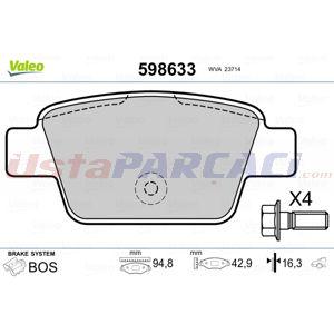 Fiat Multipla 1.9 Jtd 115 1999-2010 Valeo Arka Fren Balatası UP1443879 VALEO