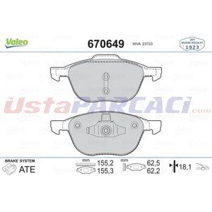 Ford Focus Iii Electric 2010-2020 Valeo Ön Fren Balatası UP1512778 VALEO