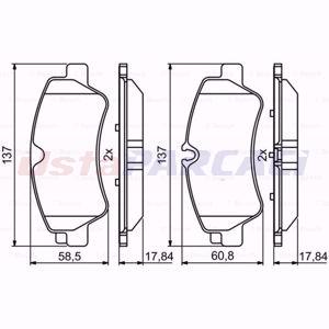 Ford Transit 2.2 Tdci Rwd 2013-2020 Bosch Arka Fren Balatası UP1582407 BOSCH