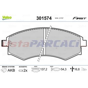 Hyundai Elantra 1.6 2000-2006 Valeo Ön Fren Balatası UP1430728 VALEO