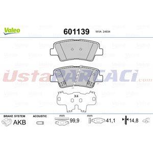 Hyundai Elantra Sedan 1.6 2011-2015 Valeo Arka Fren Balatası UP1425805 VALEO